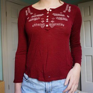 Red Embroidered Henley Long Sleeve